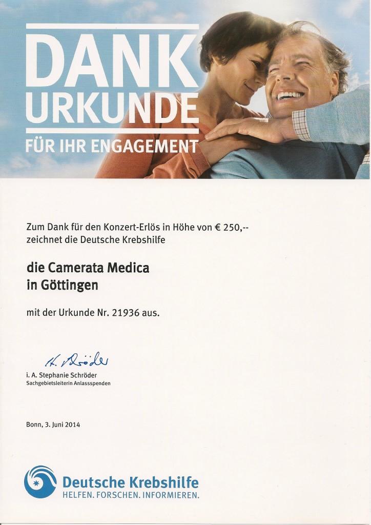 Urkunde der Krebshilfe